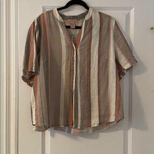 Stripes Linen Blouse